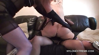 Three nylon lesbian girls enjoy double dildo
