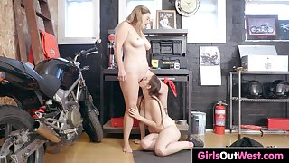 Busty lesbians fuck in the repair shop