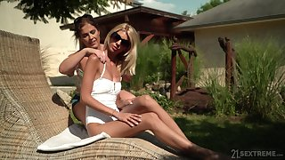 hot girl Montse Swinger spreads her long legs for a lesbian ribbons
